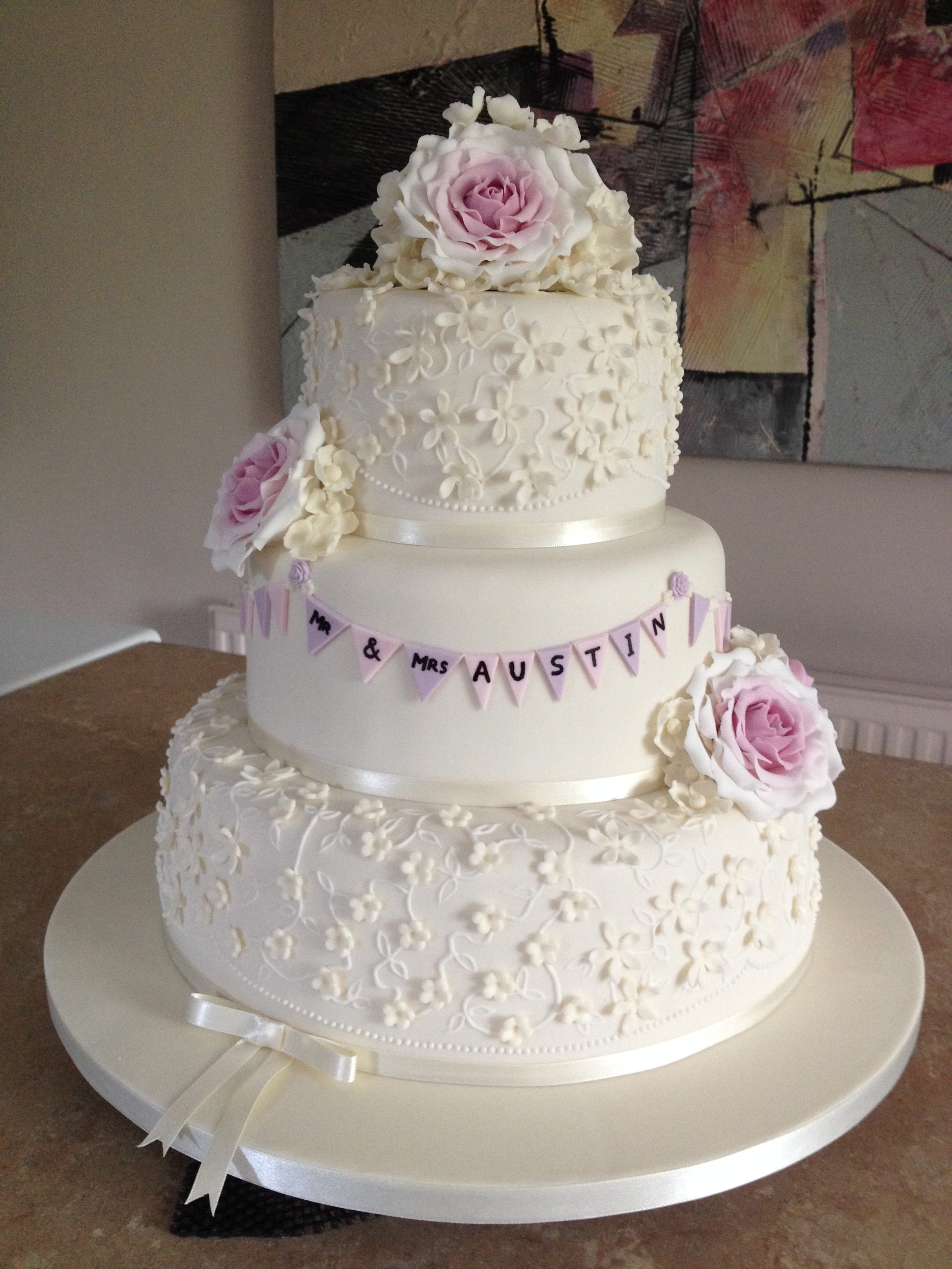 Blossoms, Roses & Bunting Wedding Cake