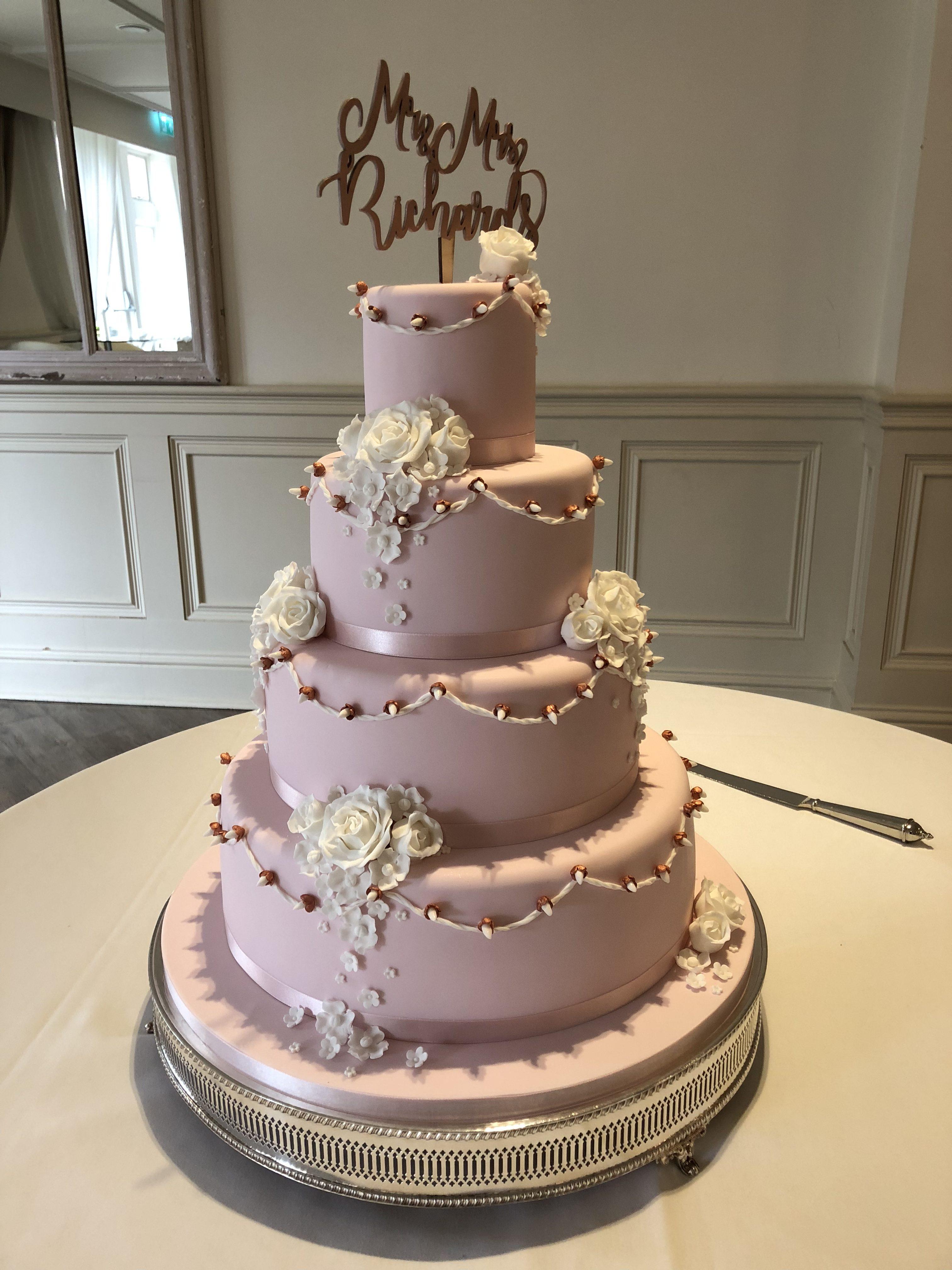 Blossoms, Roses & Fairy Lights Wedding Cake