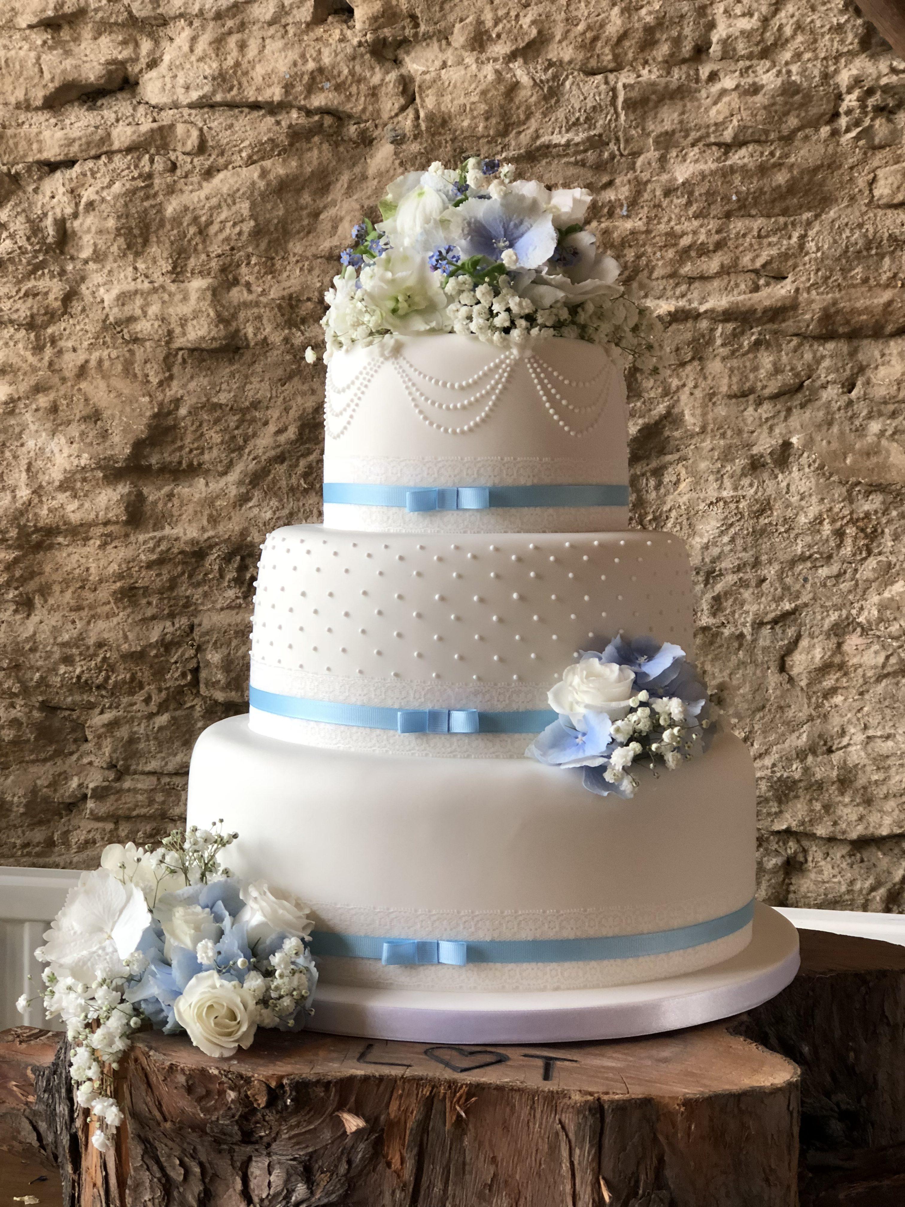 Blue Ribbons & Lace Wedding Cake