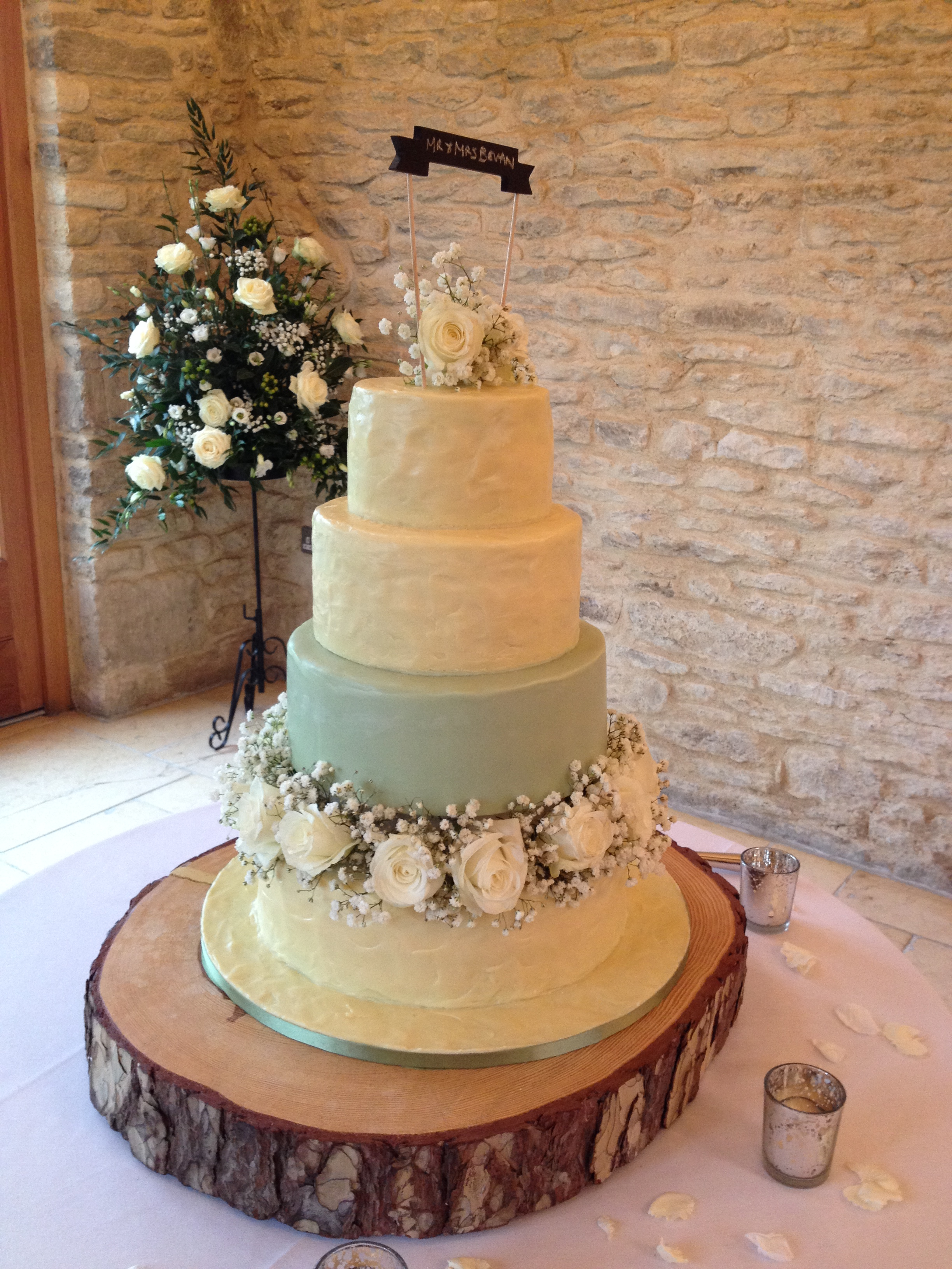 Green Ganache Wedding Cake