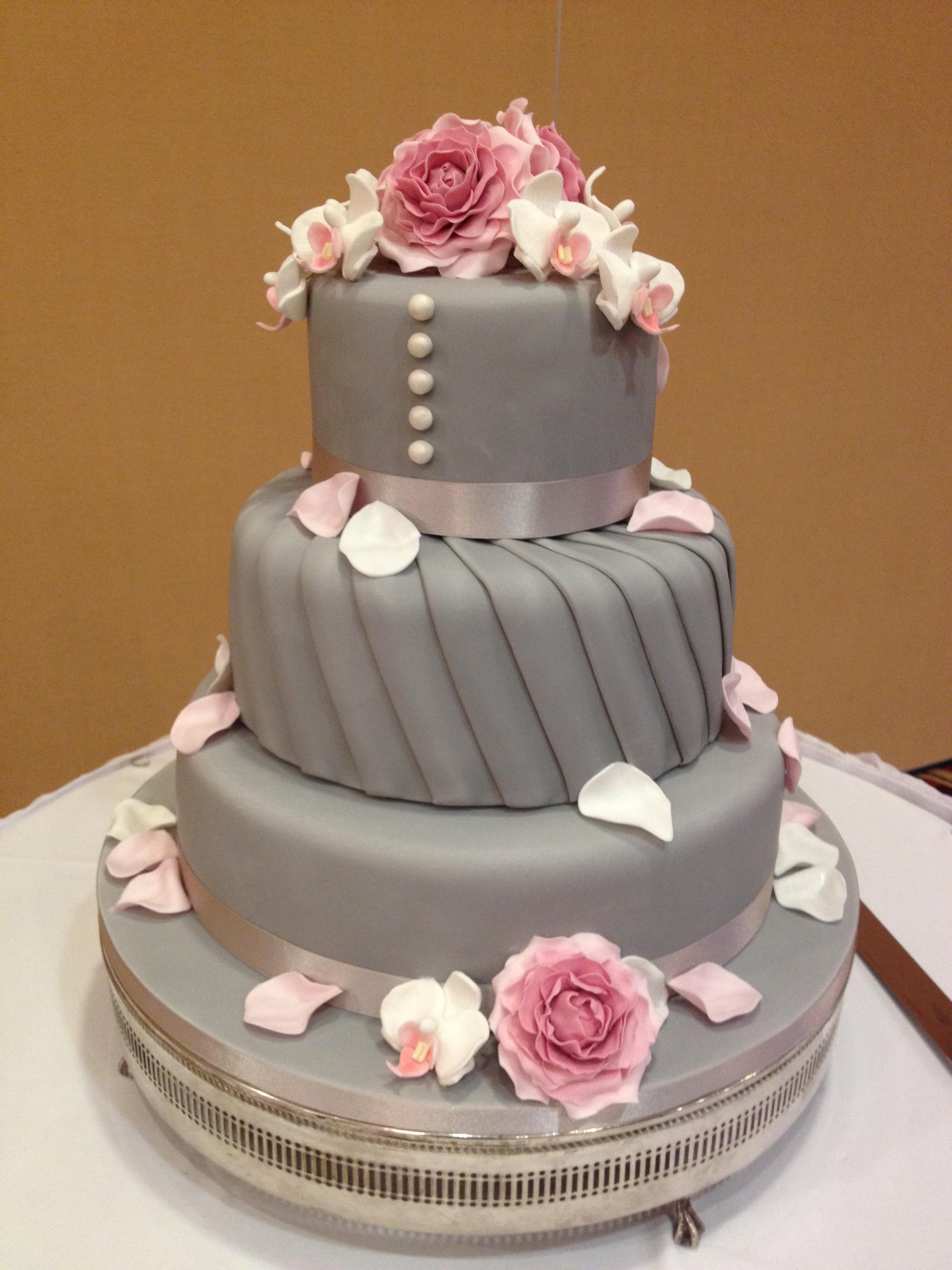Grey Pleats & Orchids Wedding Cake
