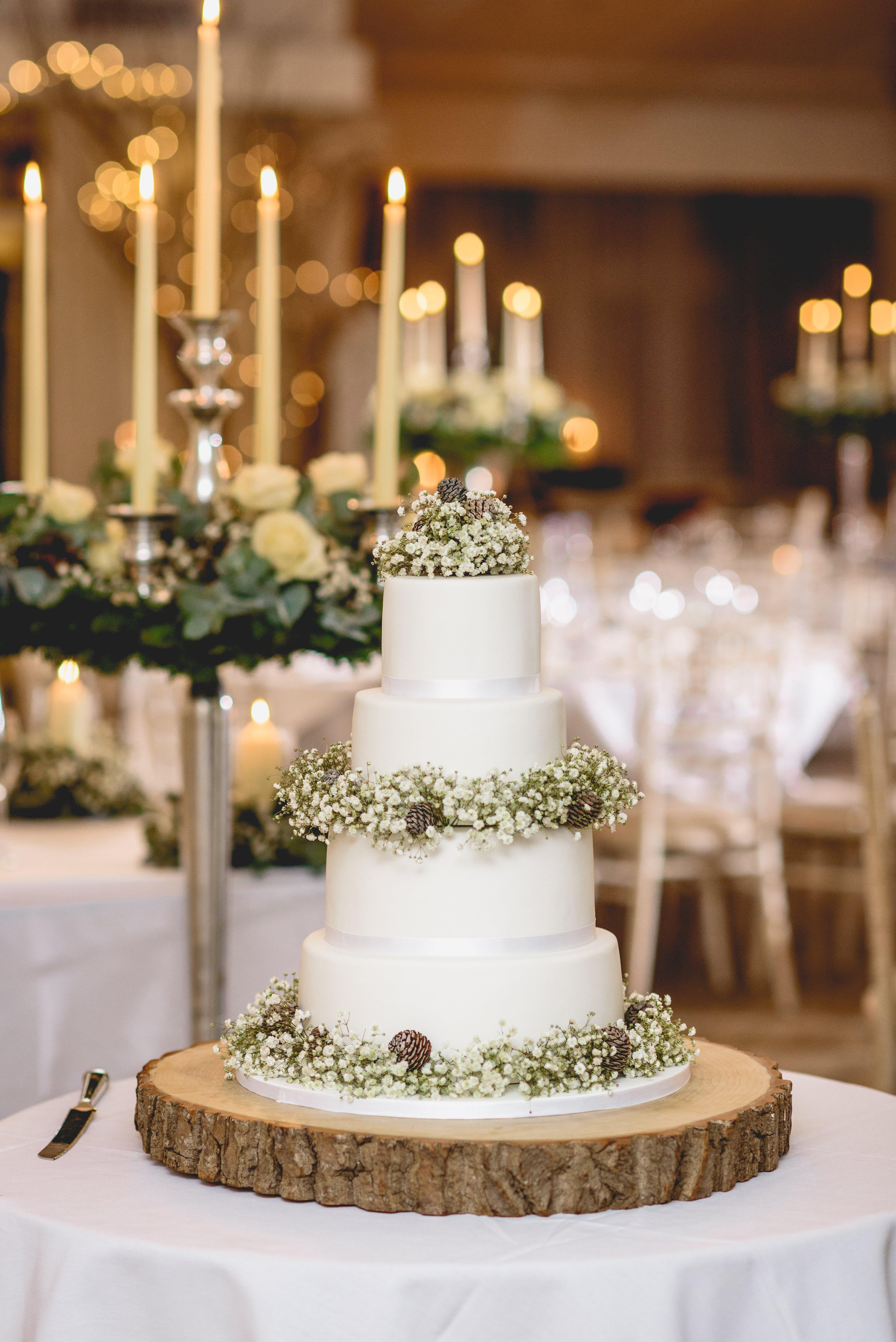 Gypsophilia & Cones Wedding Cake