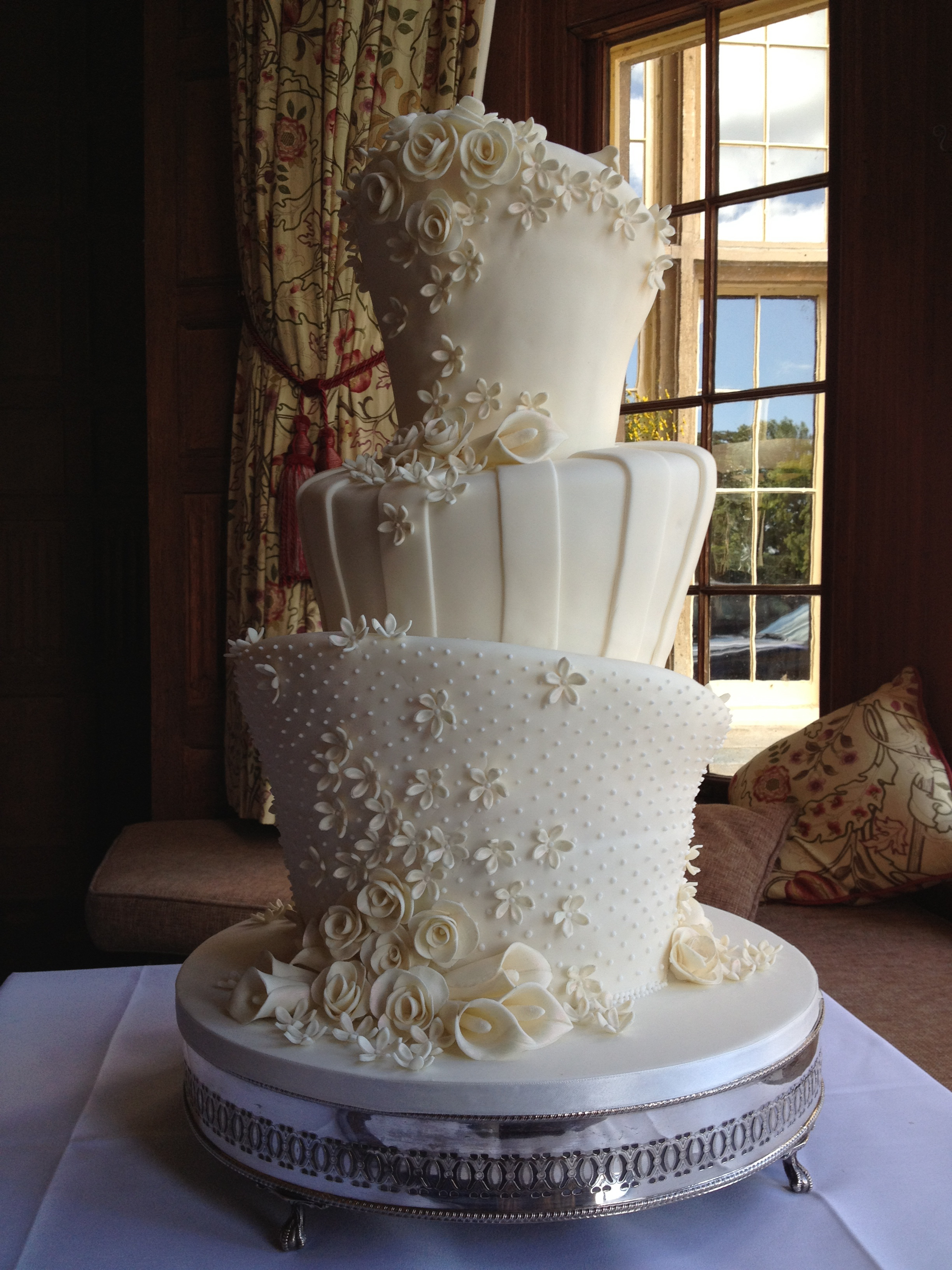 Ivory Wonky Wedding Cake