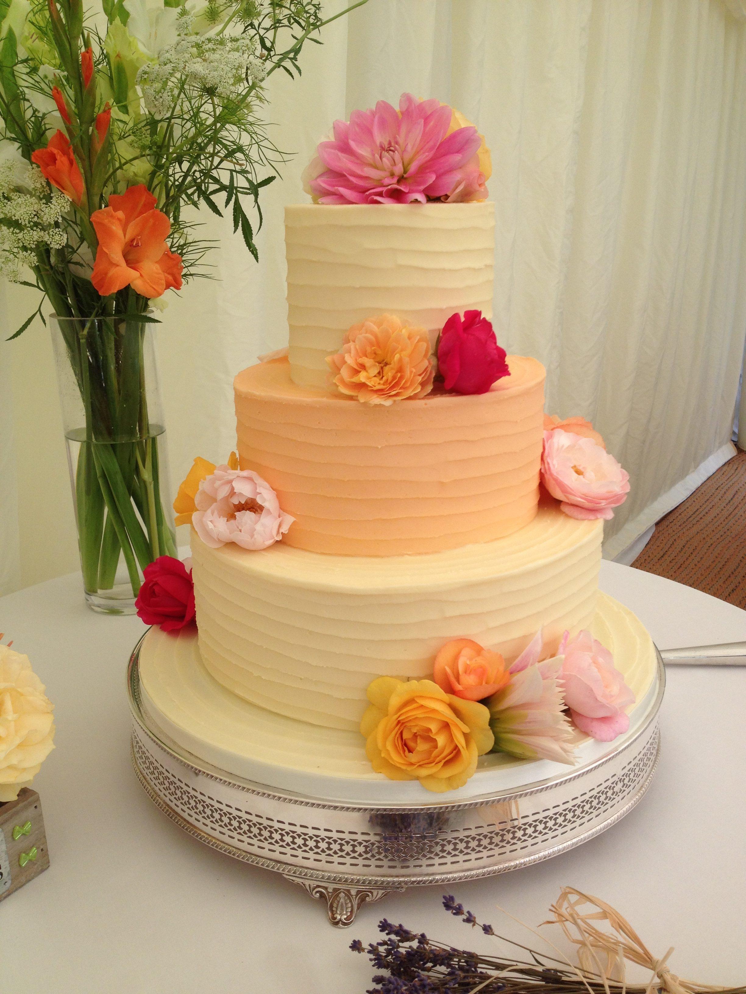 Peach B:C Stacked Wedding Cake