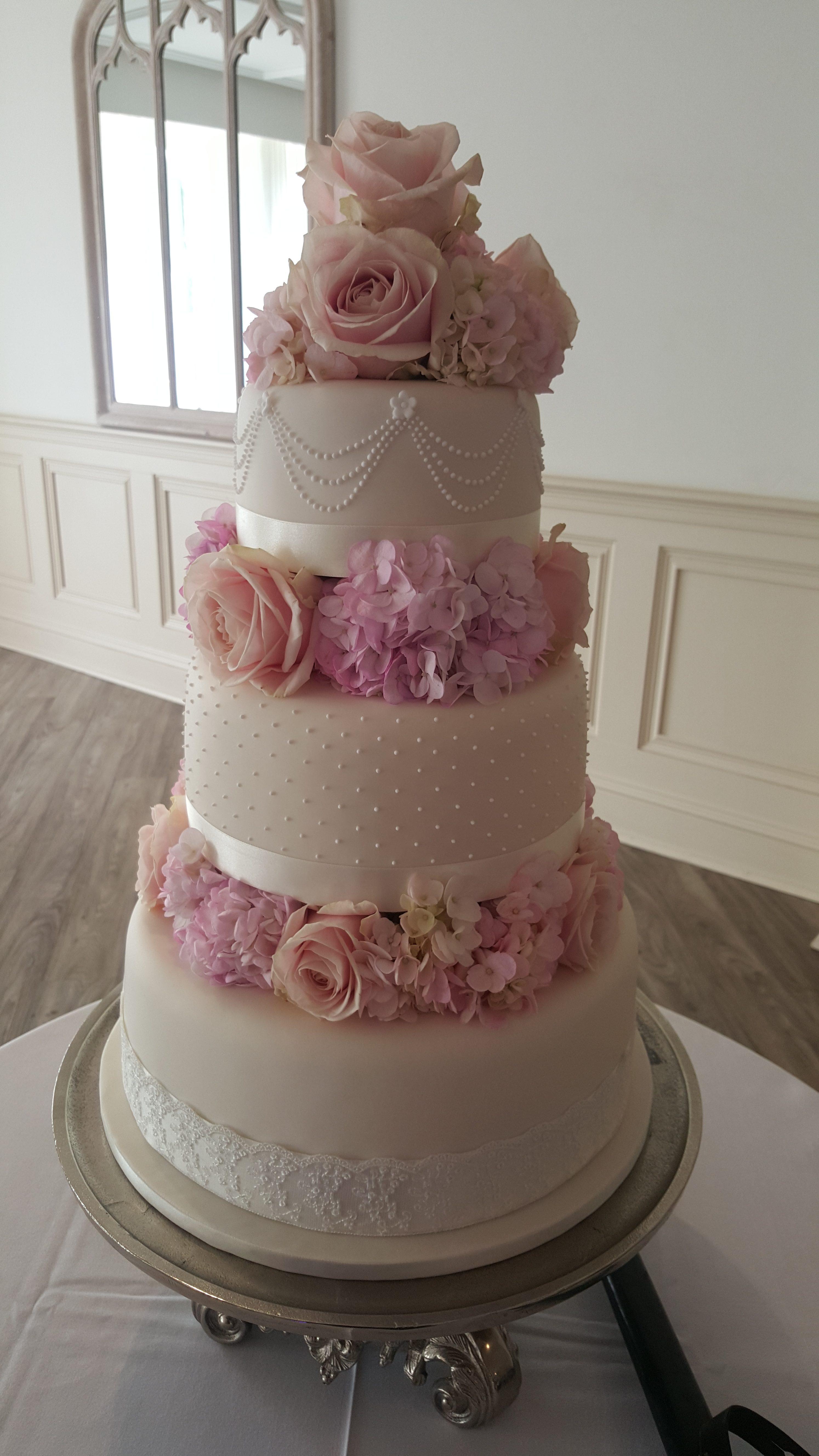 Pearl Romance Pink Roses Wedding Cake