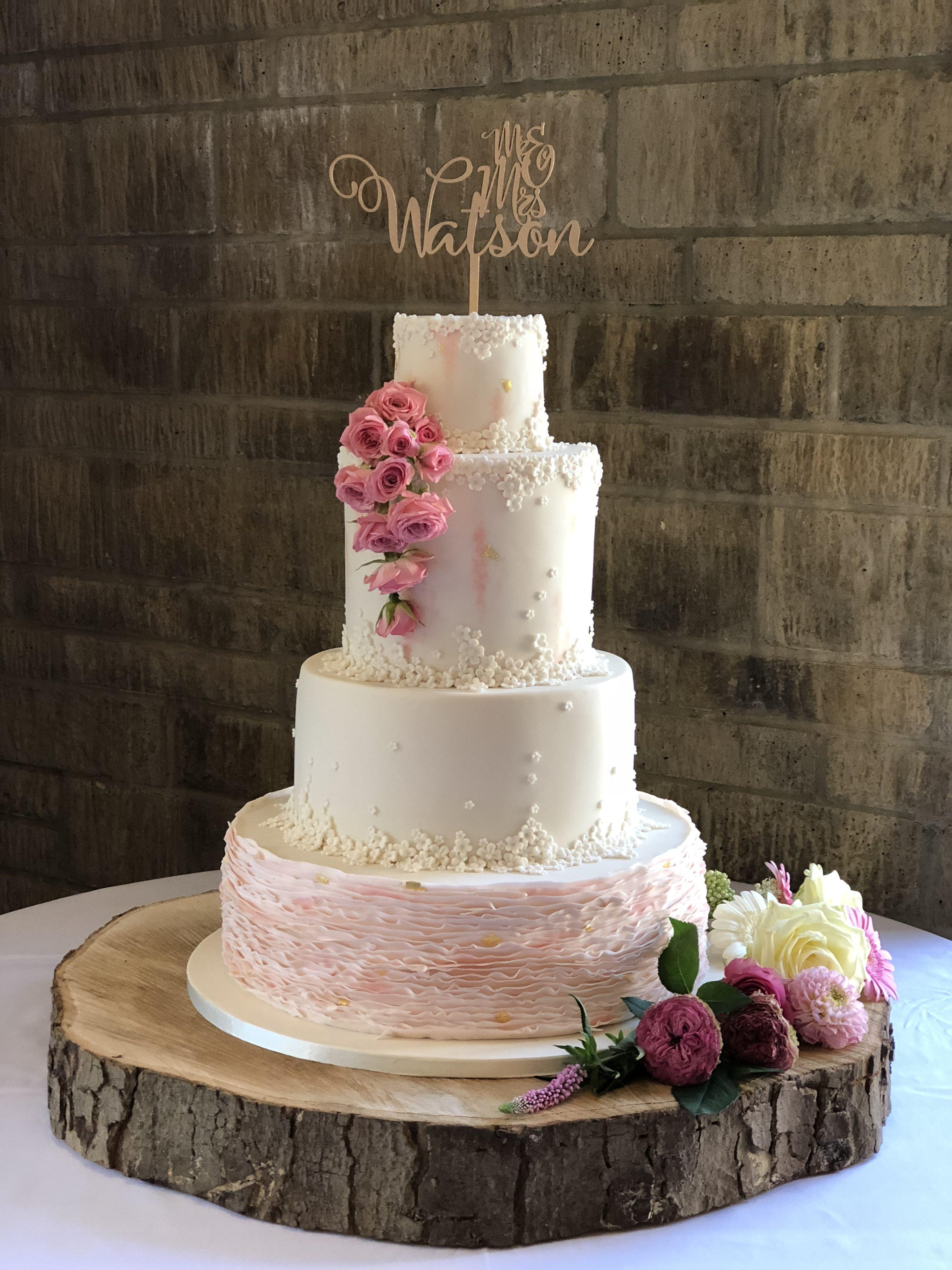 Peeling Ruffles Pink Wedding Cake