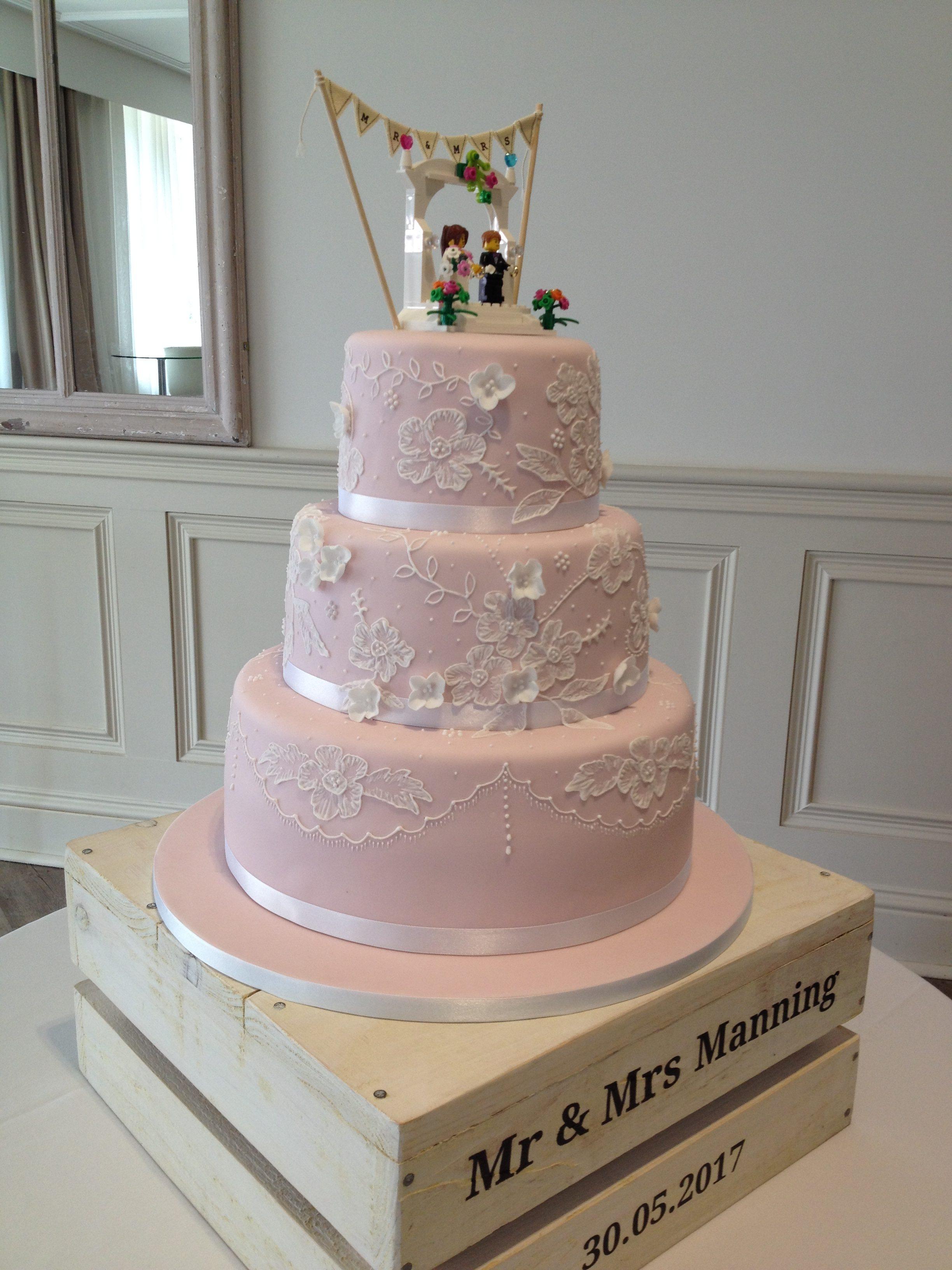 Pink Brushed Lace Wedding Cake