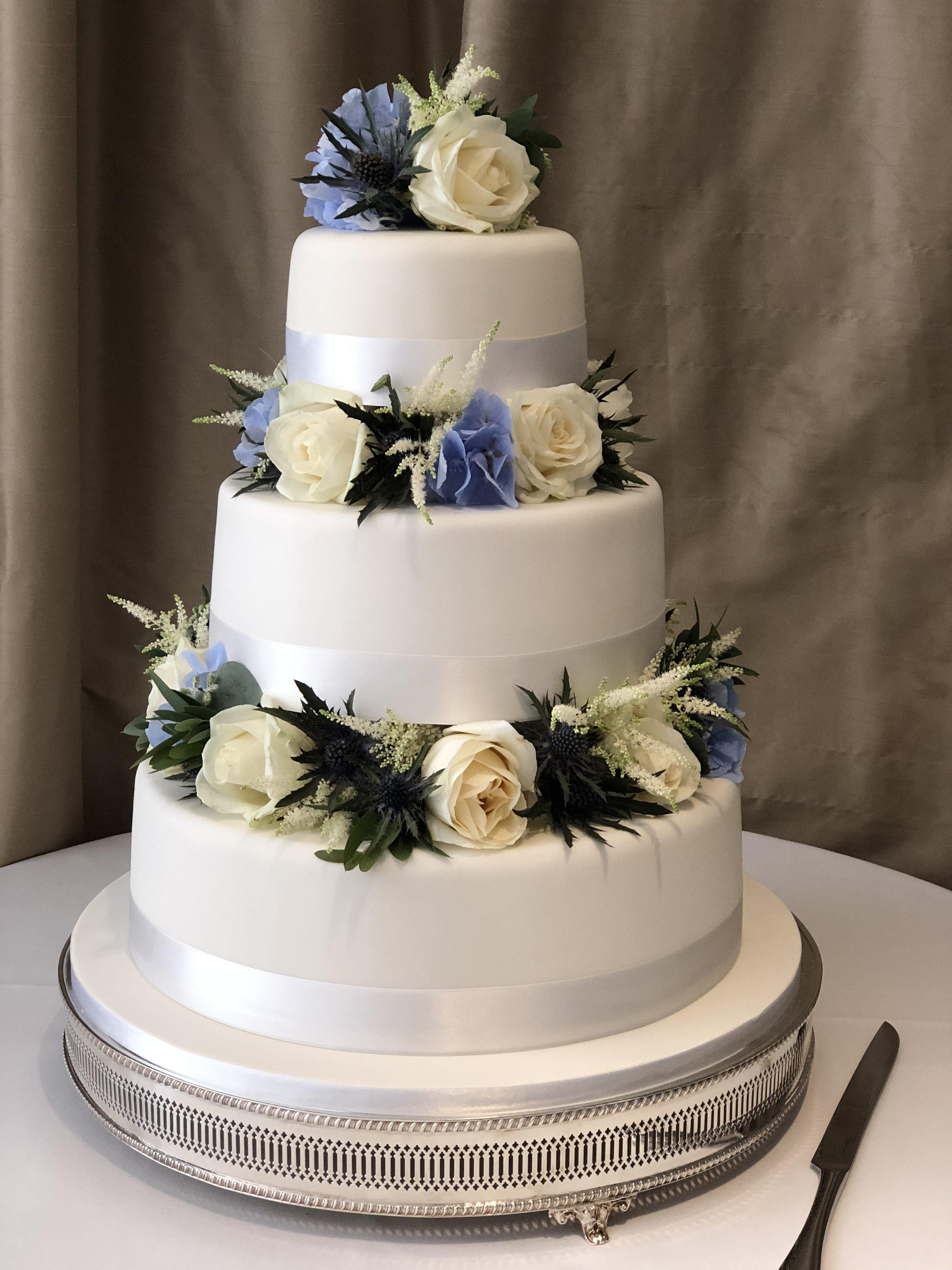 Romance Roses & Thistles Wedding Cake