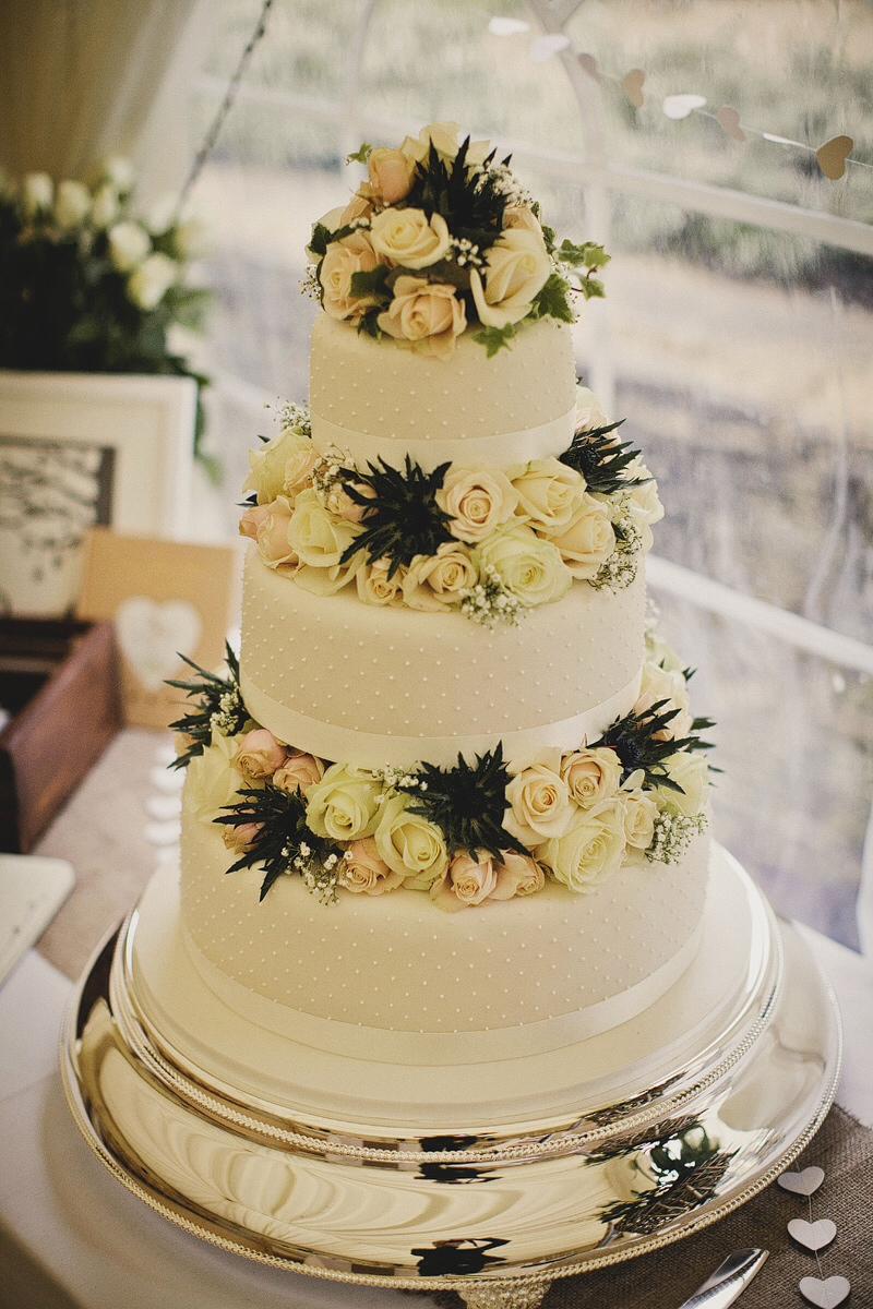 Roses & Thistles Wedding Cake