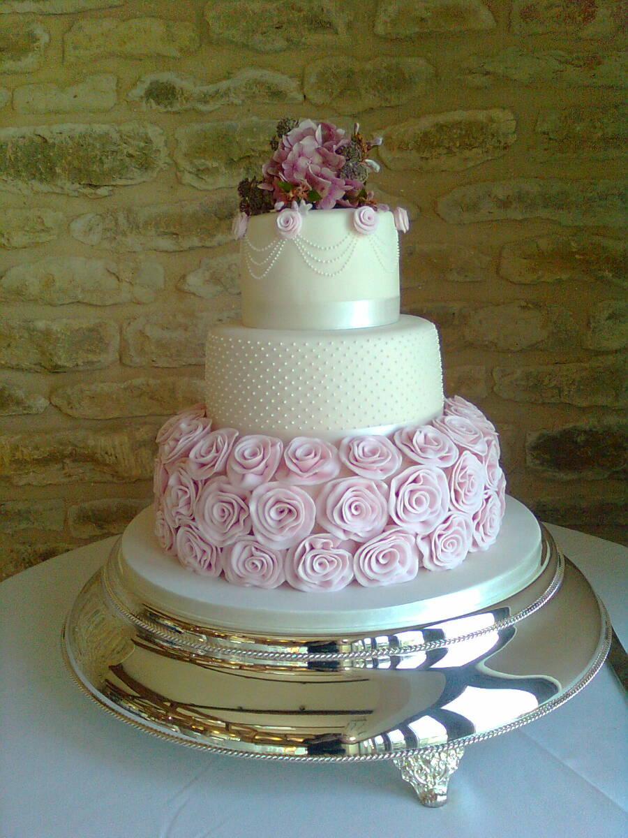 Ruffle Roses Wedding Cake