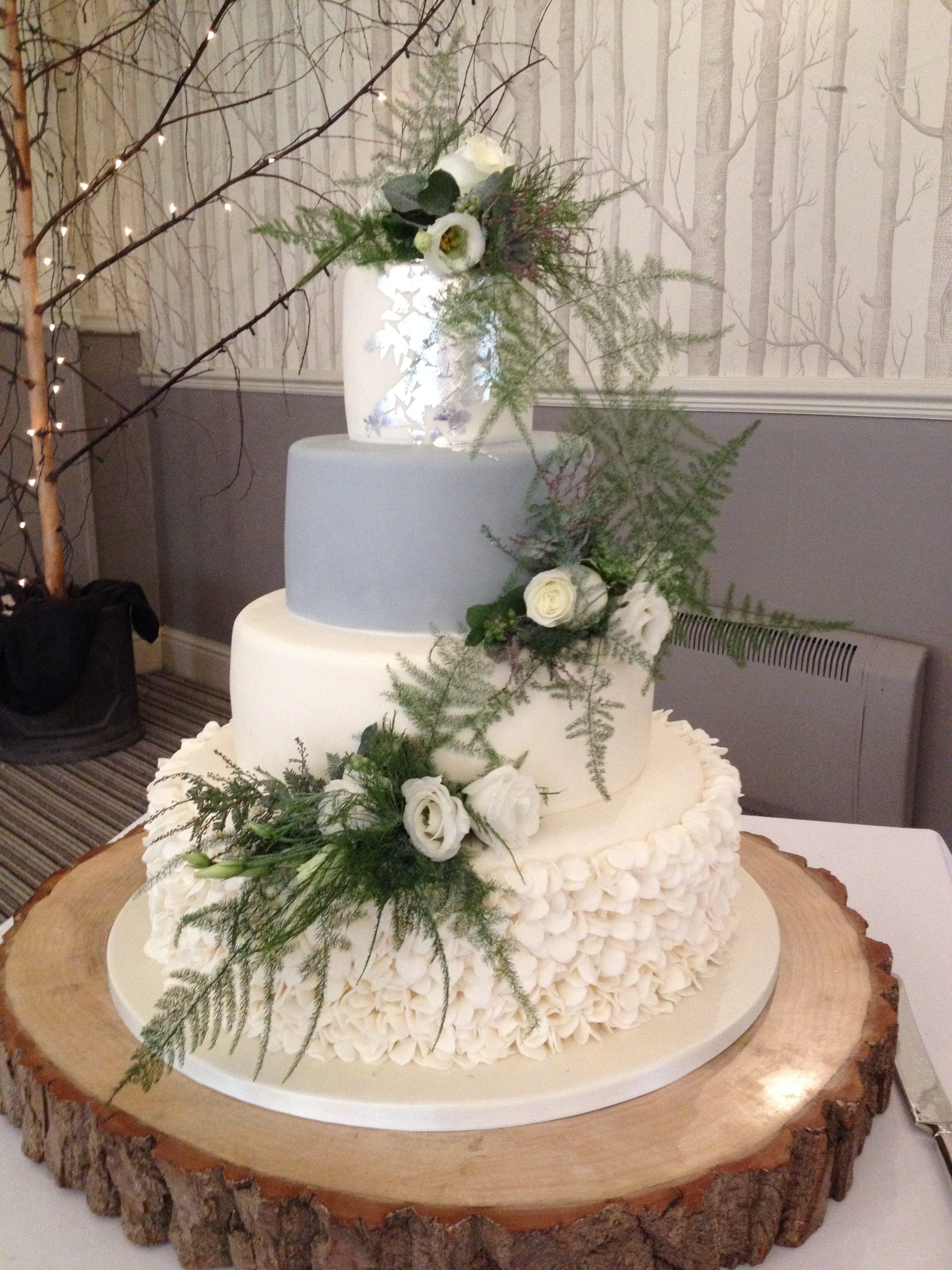 Ruffled Petals, Silver & Grey Wedding Cake