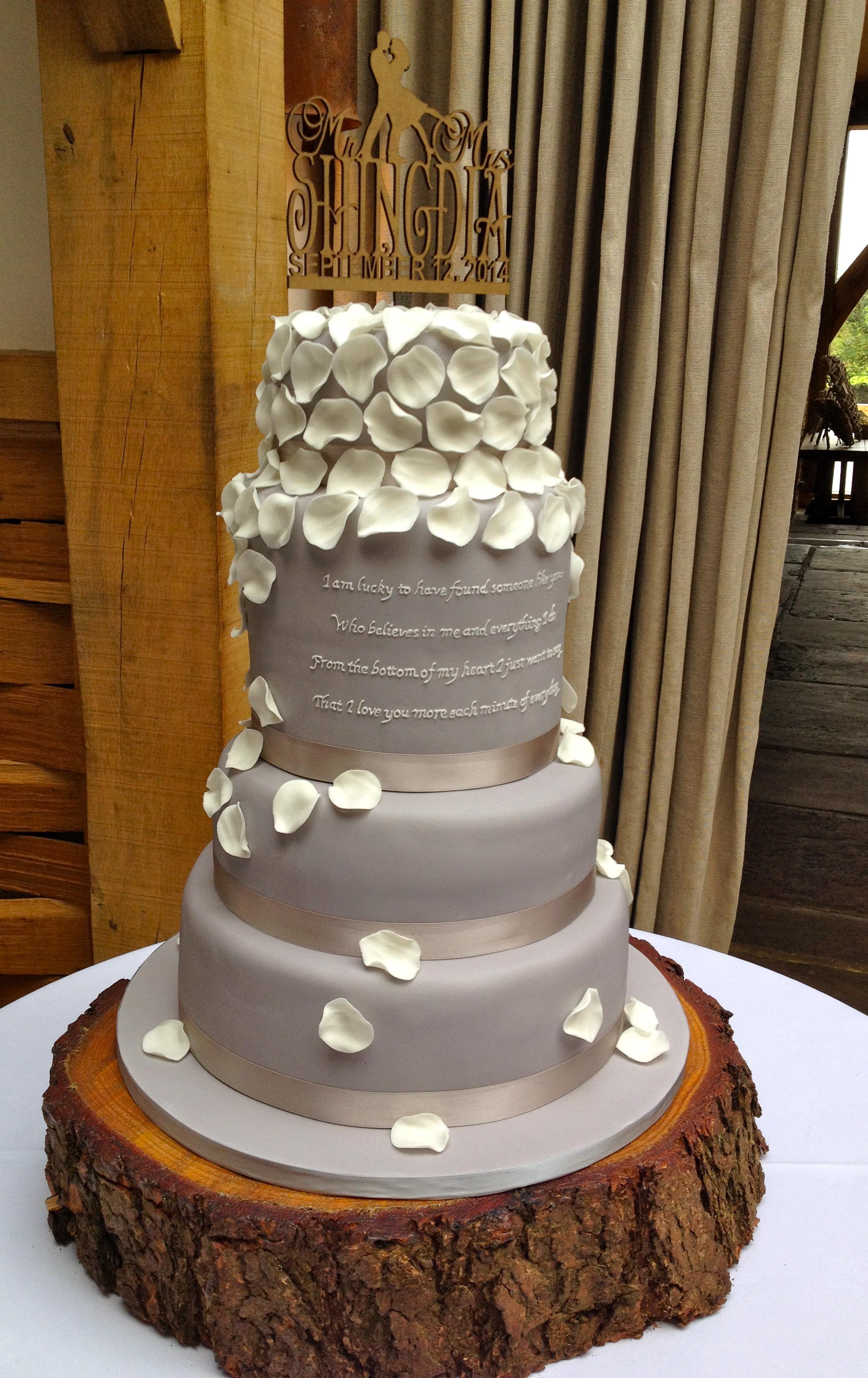 Script & Petals Wedding Cake