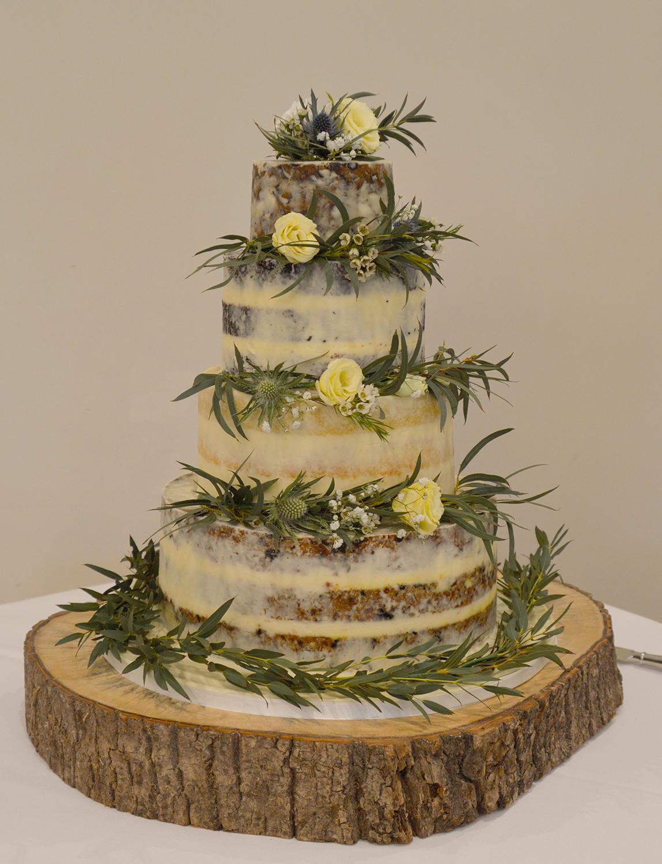 Semi Naked Foliage Wedding Cake
