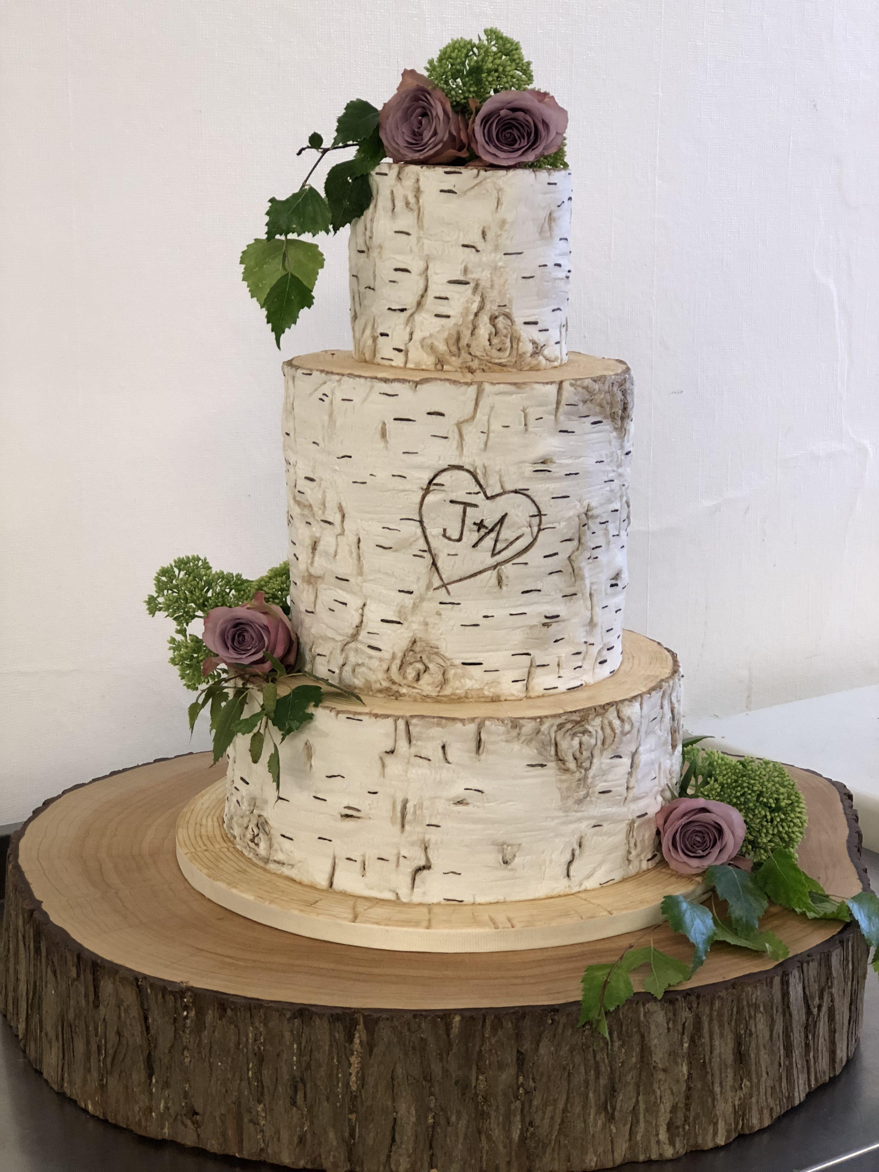 Silver Birch Logs Wedding Cake