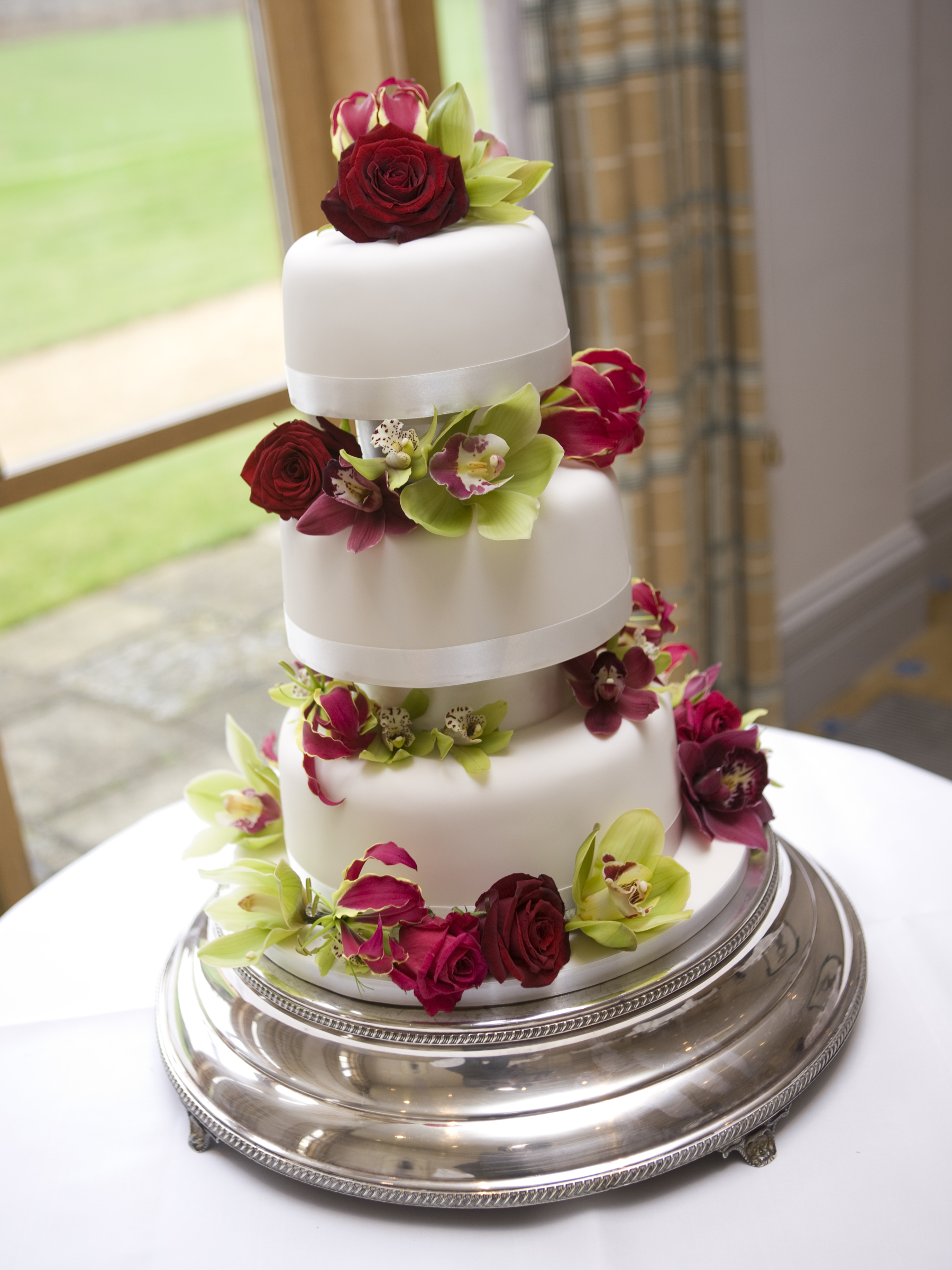 Simply Orchids & Roses Wedding Cake