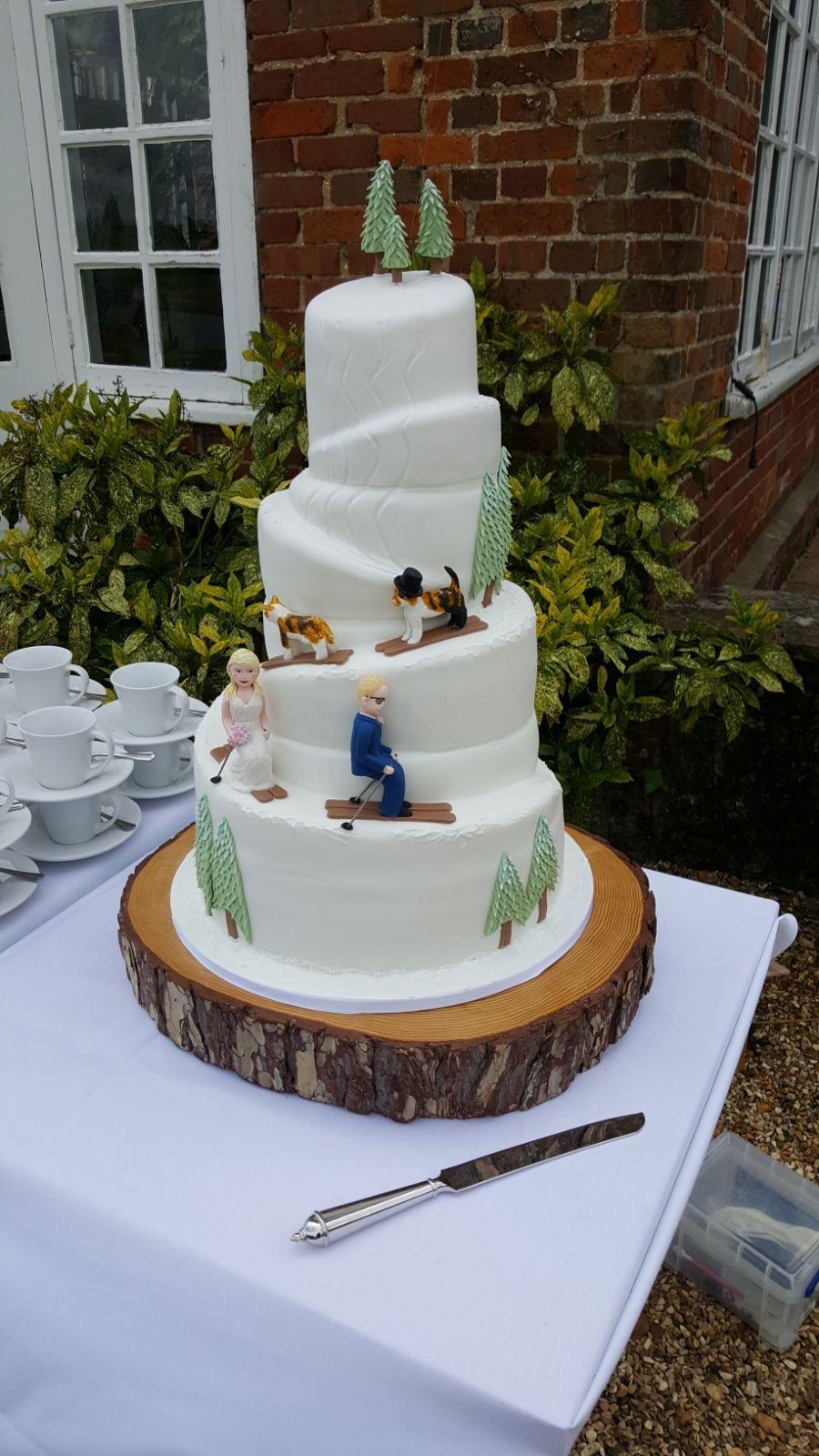 Skiing Cats Wedding Cake