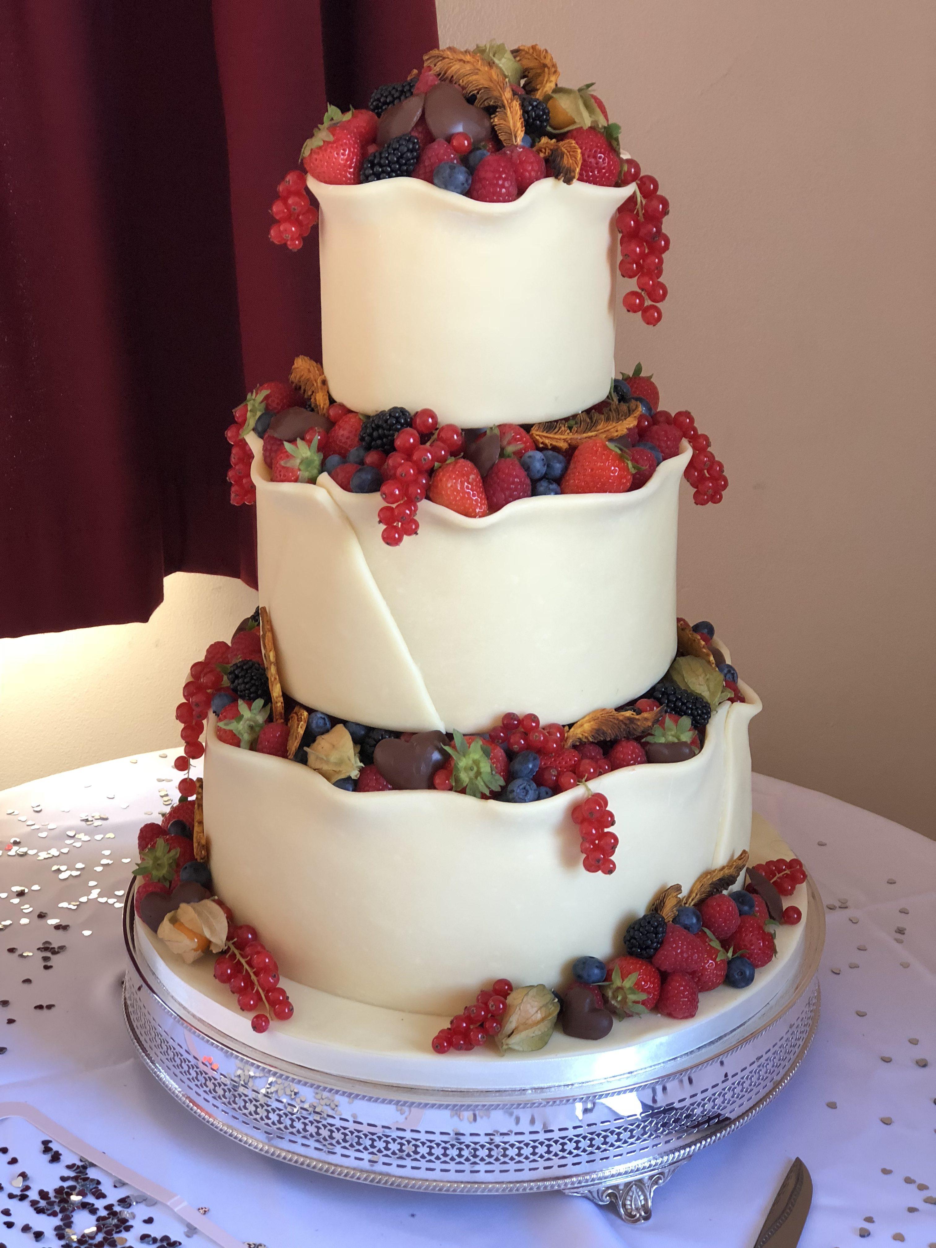 Summer Fruits & Feathers Wedding Cake