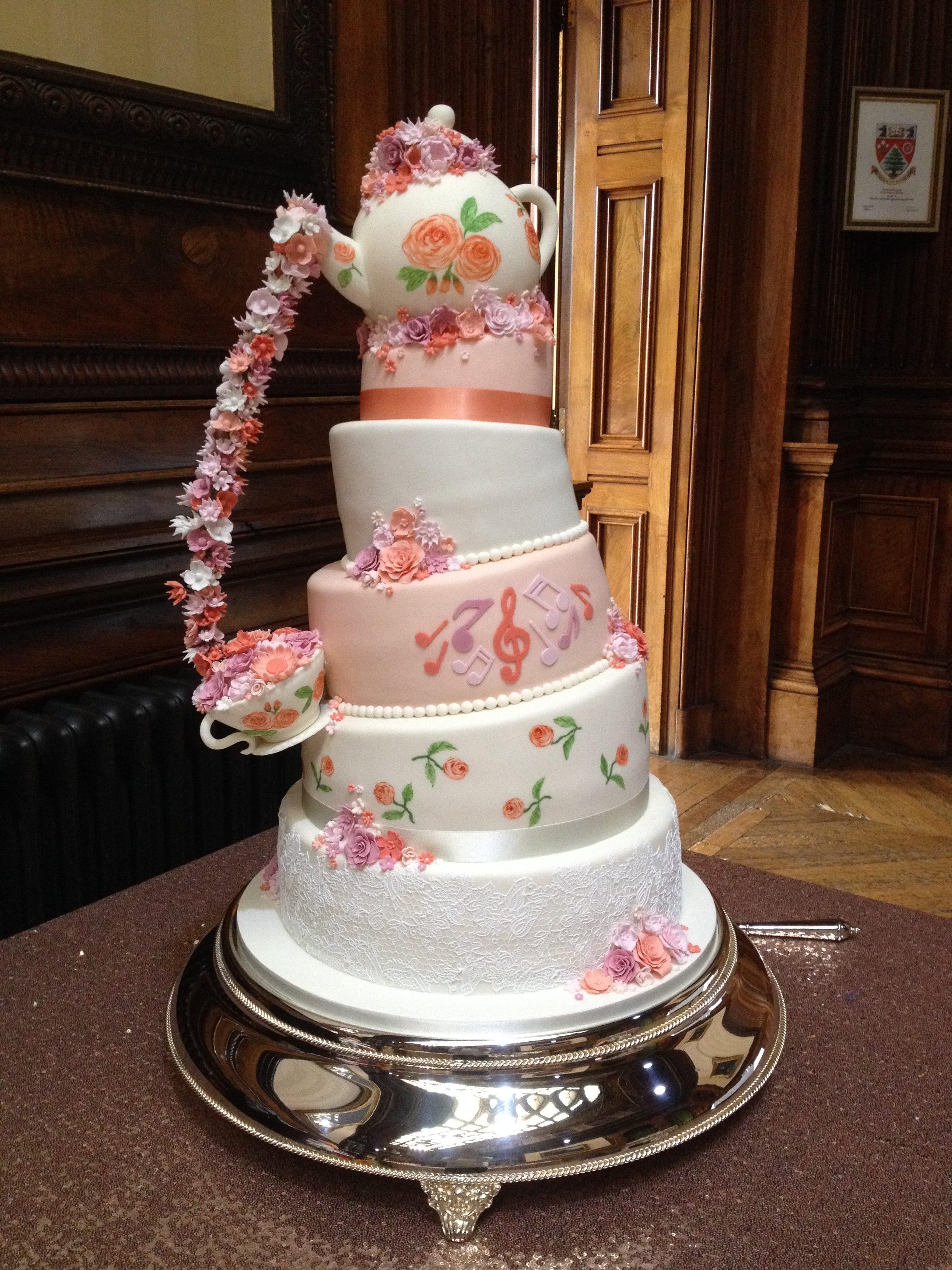 Teapot Pouring Flowers Wedding Cake