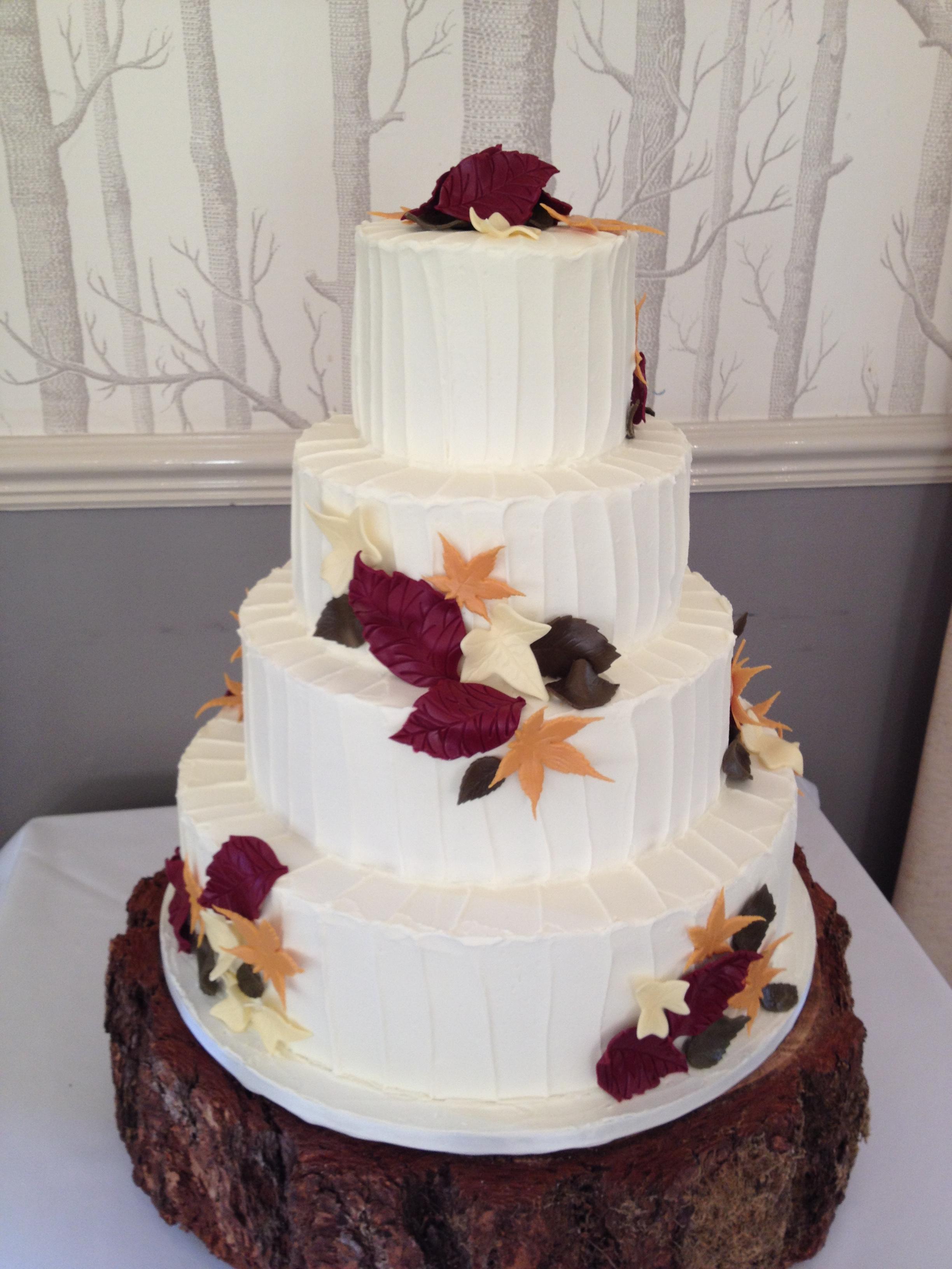 Textured Leaves Wedding Cake