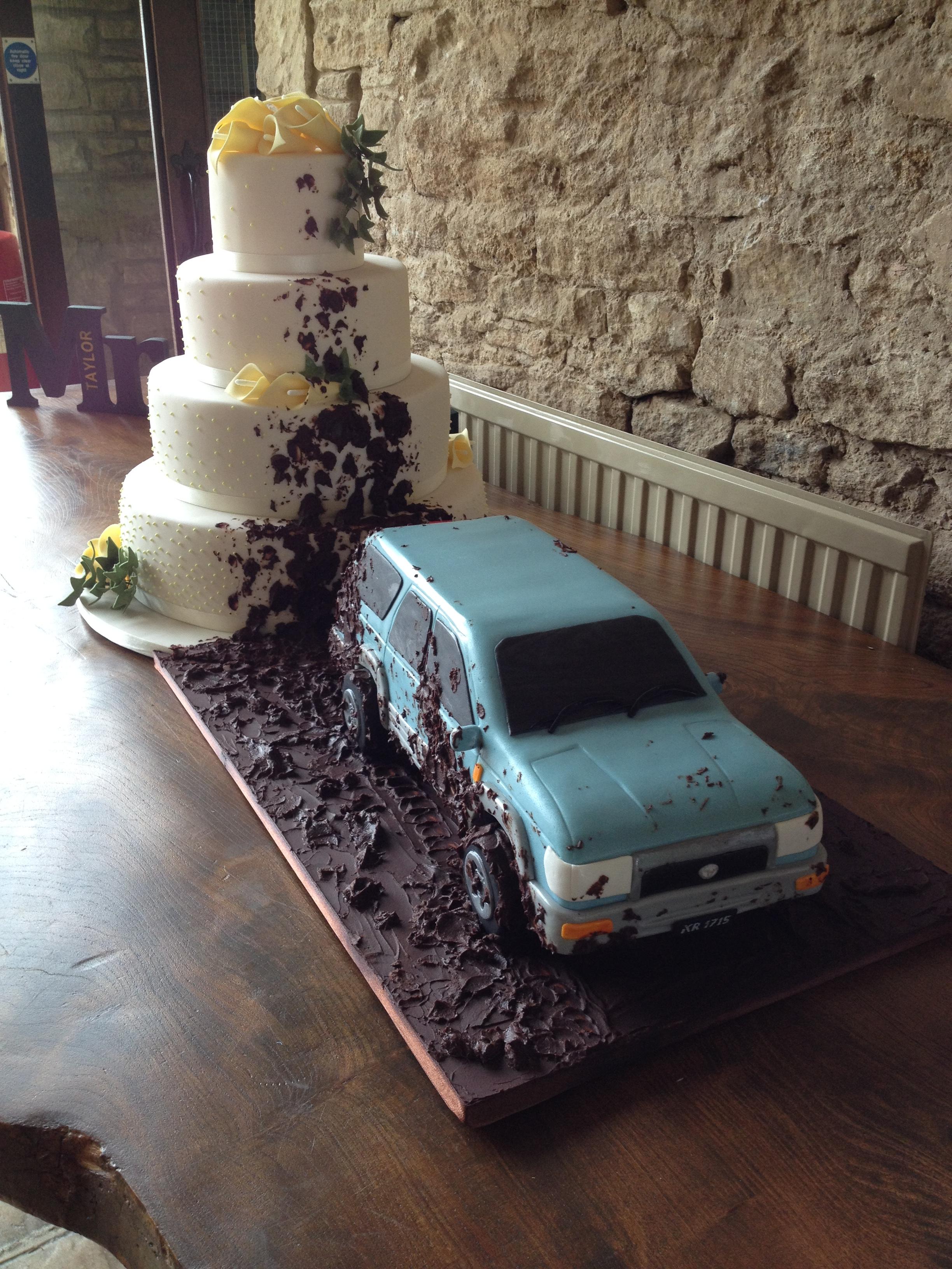 Truck & Cake in Mud Wedding Cake